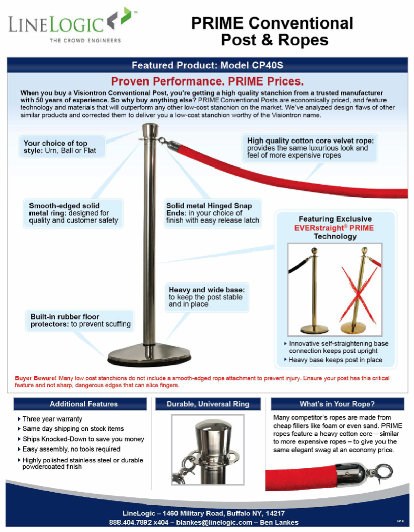 PRIME Conventional Posts and Ropes Flyer